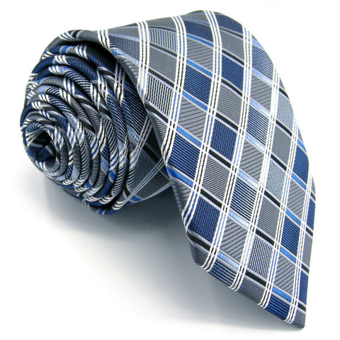 Shlax & Wing Silver, Blue, and White Extra Long Men's Tie