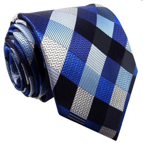 Shlax & Wing Blue, Silver, and Black Checked Extra Long Men's Tie