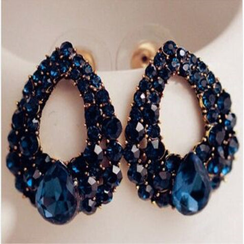 Deep Blue Natural Stone and Gold Plated Earrings