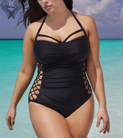 BKNING One Piece Plus Size Swimsuit with Side Cutouts