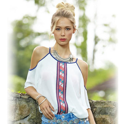 Bohemian Chiffon Off The Shoulder Blouse