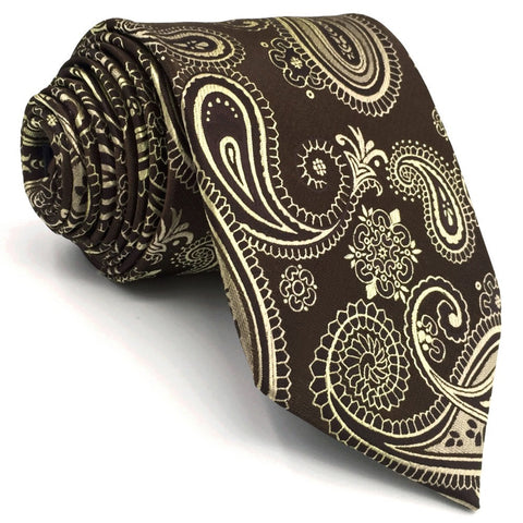 Shlax & Wing Brown Paisely Extra Long Men's Tie