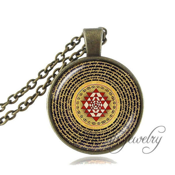 Fashion Buddhist Sri Yantra Sacred Geometry Pendant Necklace