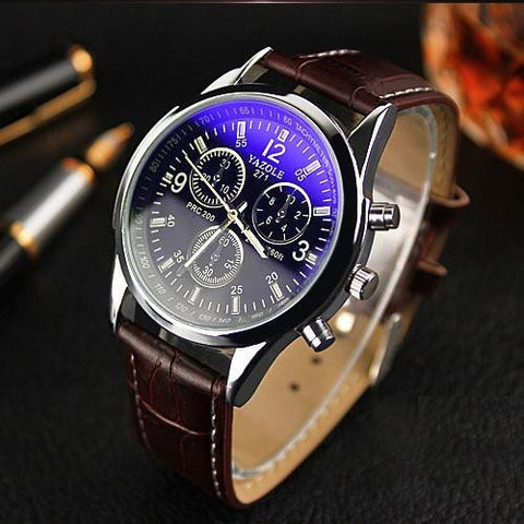 Yazole Men's Quartz Dress Watch with Leather Strap