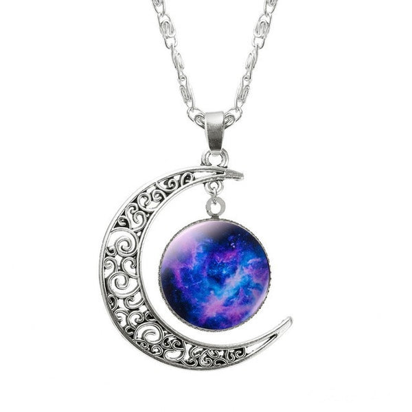 Silver Plated Hollow Moon & Glass Galaxy Statement Necklace