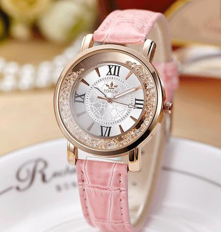 Sloggi Women's Fashion Watch with Rhinestone Face and Leather Strap