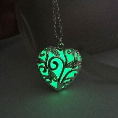 Turquoise Glow In the Dark Heart Pendant Necklace