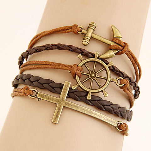 Vintage Multilayer Charm Leather Bracelet