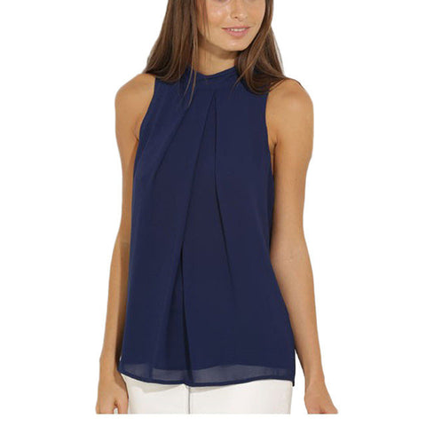 Women's Casual Sleeveless Chiffon Blouse