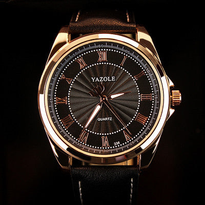 YAZOLE Men's Trident Dress Watch with Leather Strap