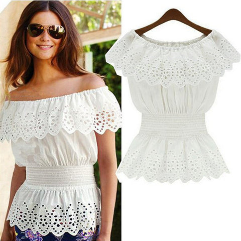 Women's Lace Chiffon Blouse with Elastic Waist