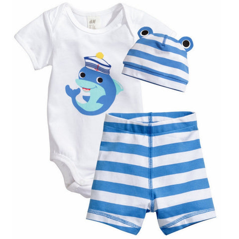 Unisex Cotton 3 pc Baby Romper Set