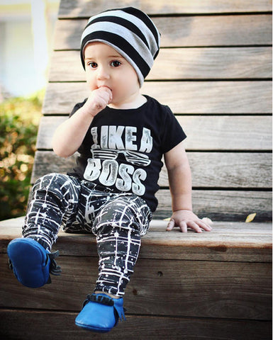 "Baby Boy's Short Sleeve ""Like A Boss"" Outfit"