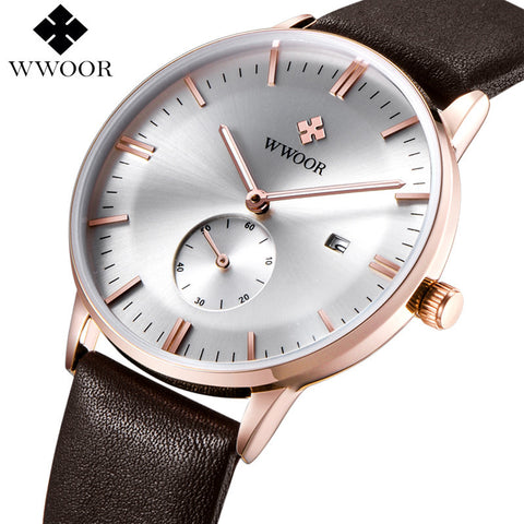 WWOOR Water Resistant Quartz Watch with Leather Wristband