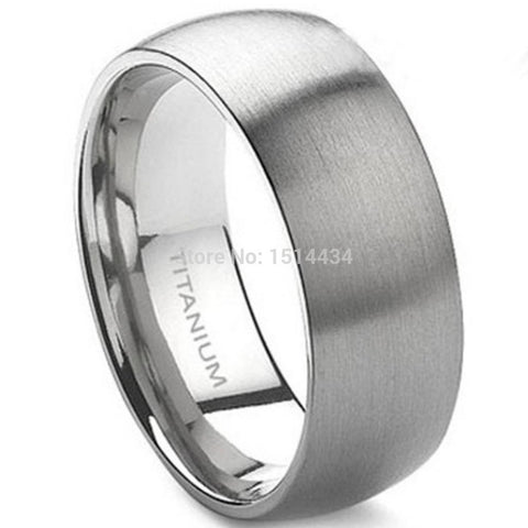 8mm Men's Classic Brushed Titanium Ring
