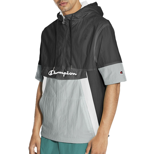 Champion Life® Men's Woven Anorak Short-Sleeve Jacket Black - Gallery Store NZ | Tauranga