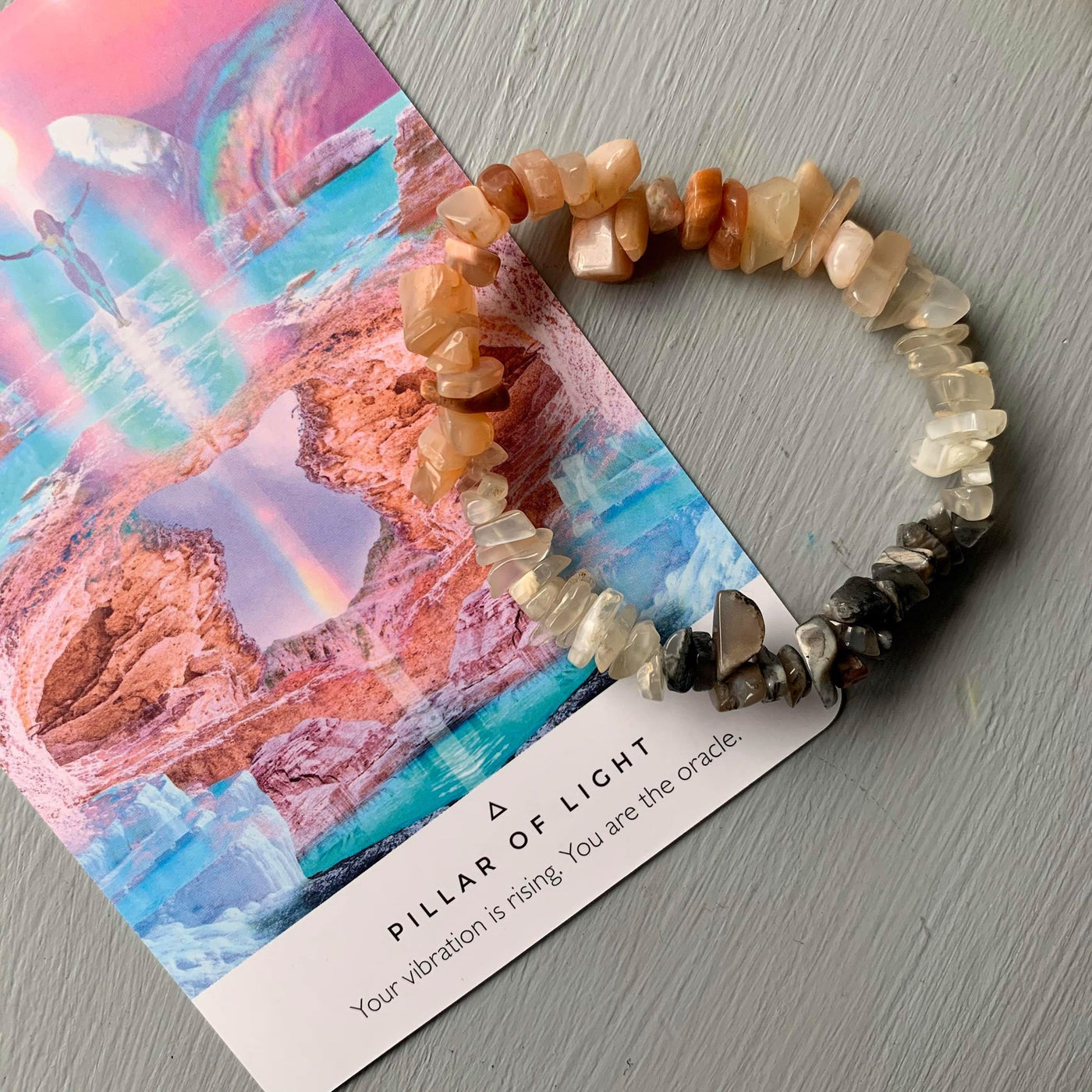 Crystal Chip Bracelet - Peach Moonstone
