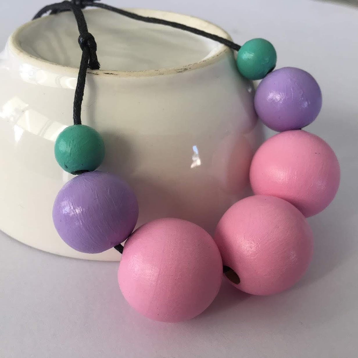 Necklace - Pink, Purple and Green