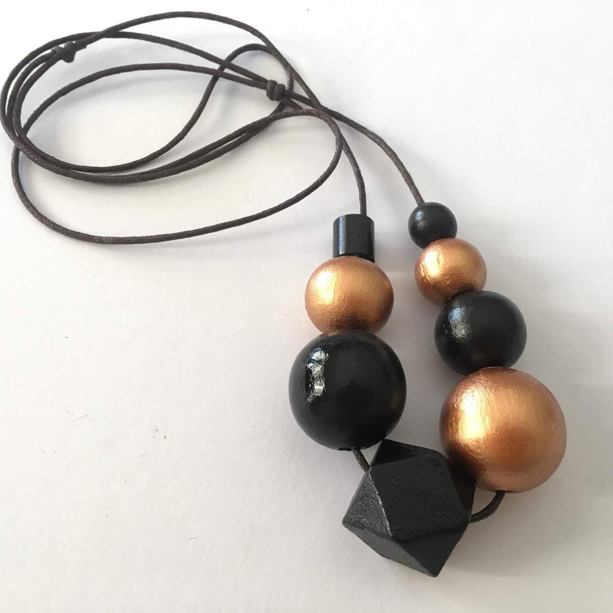 Necklace - Black and Bronze