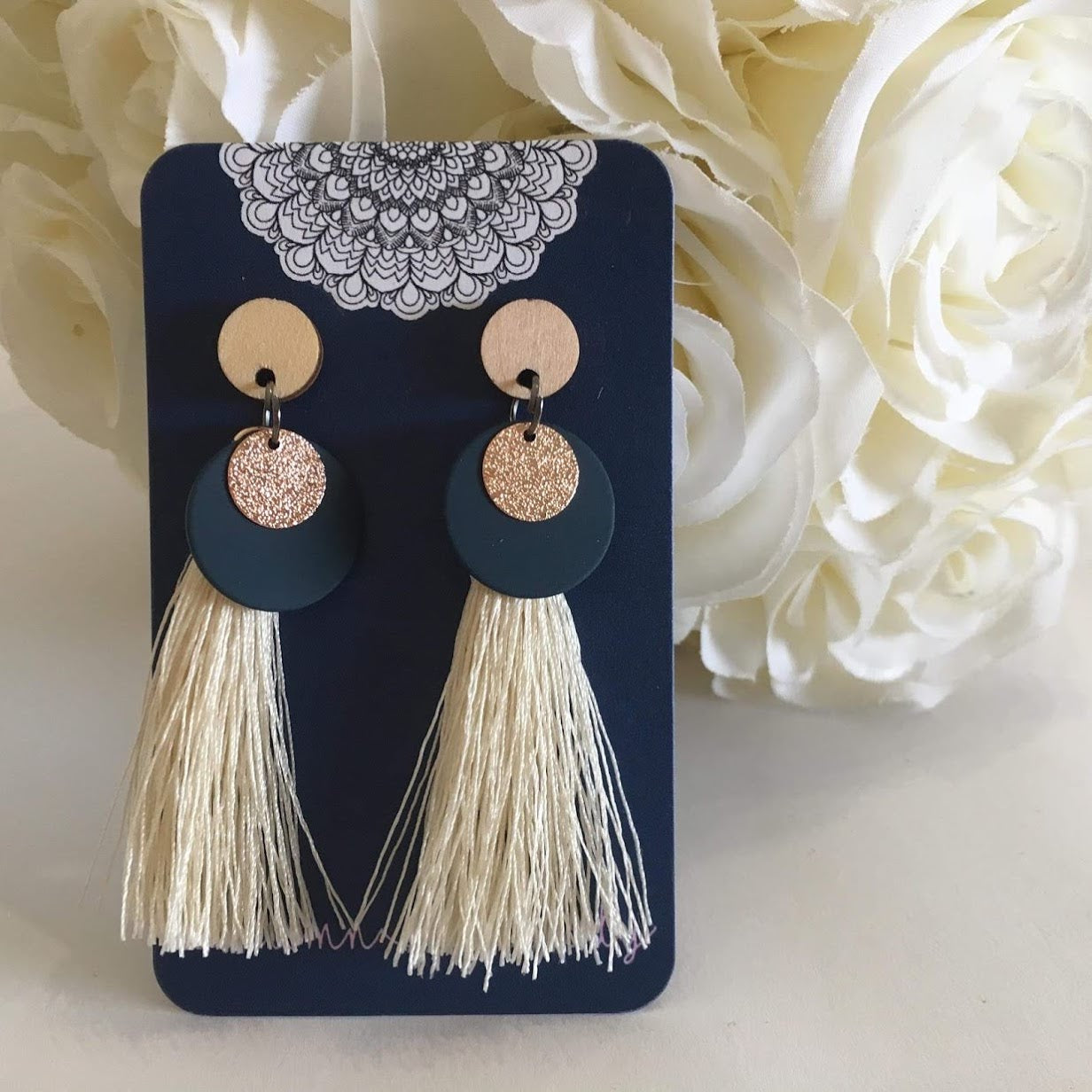 Tassel - Cream, Navy and Rose Gold