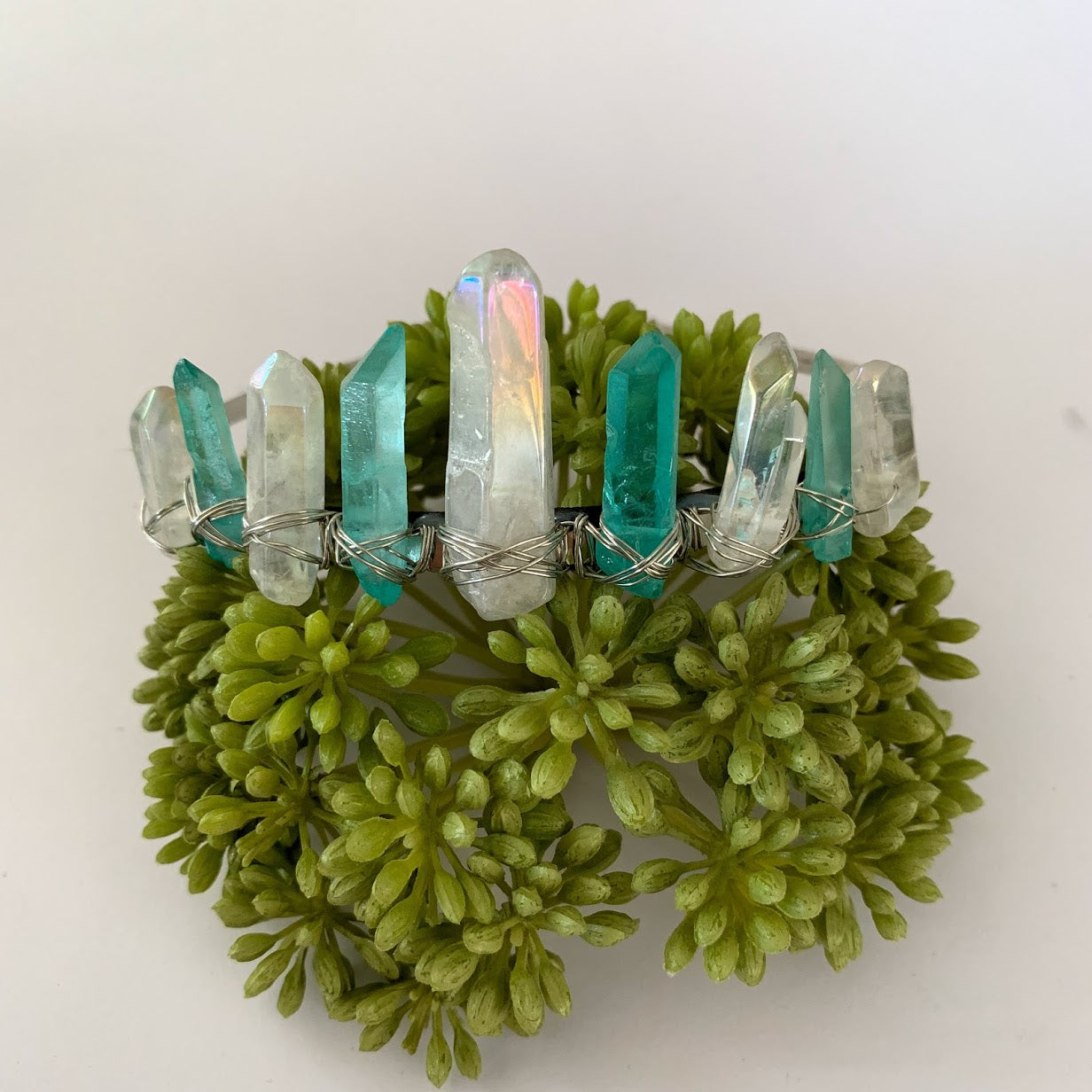 Titanium Quartz Crystal Crown - Aqua and White