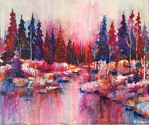 Magenta and Orange Shoreline Original Painting