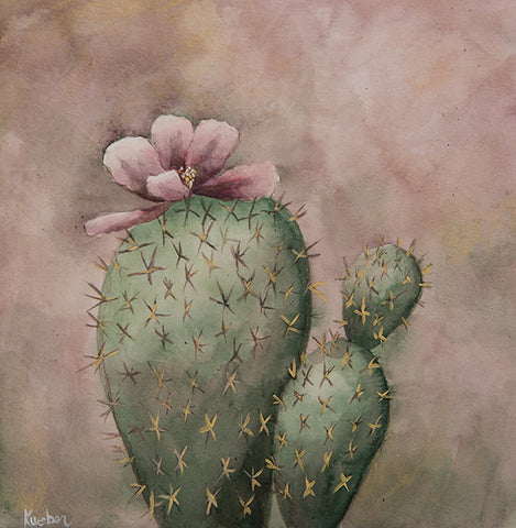 Smoky Purple Cactus Original Painting