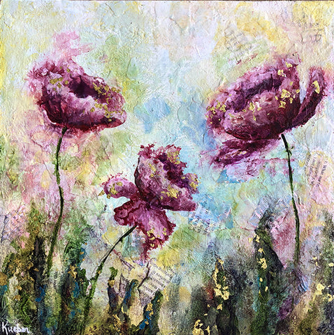Dreamy Purple Poppies Original Painting