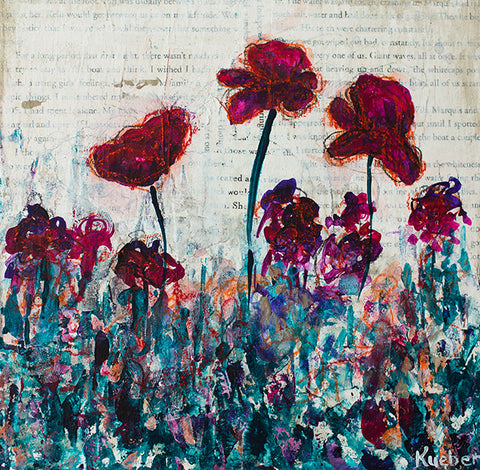 Purple Poppies 2 Original Painting