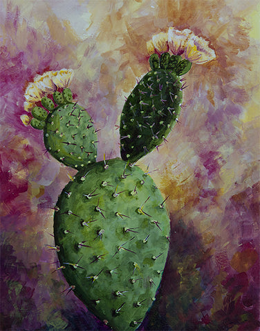 Sunset Prickly Pear Original Painting