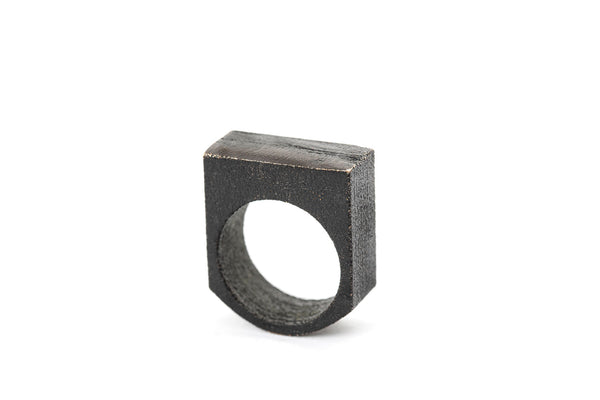 Black Steel Ledge Ring