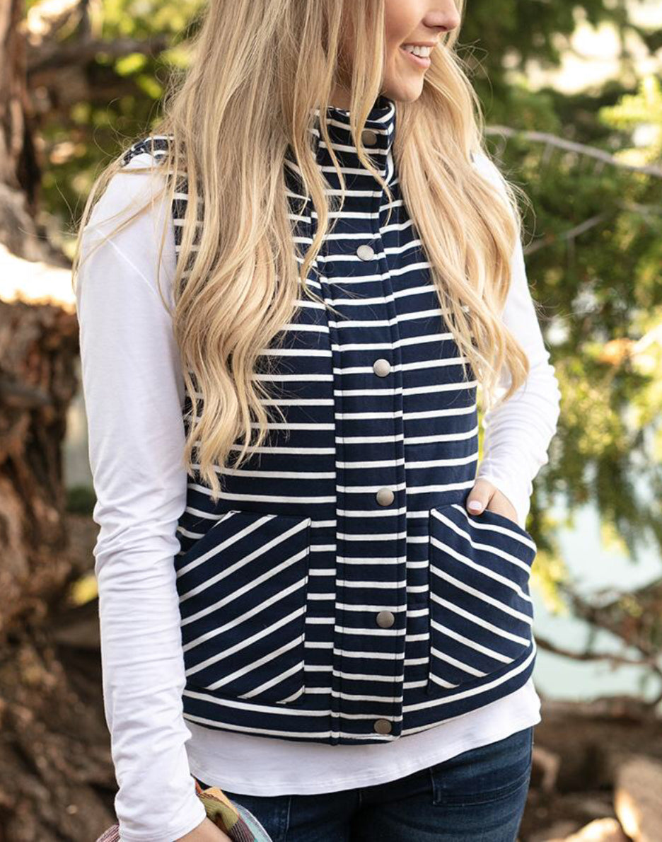 Striped Knit Puffer Vest