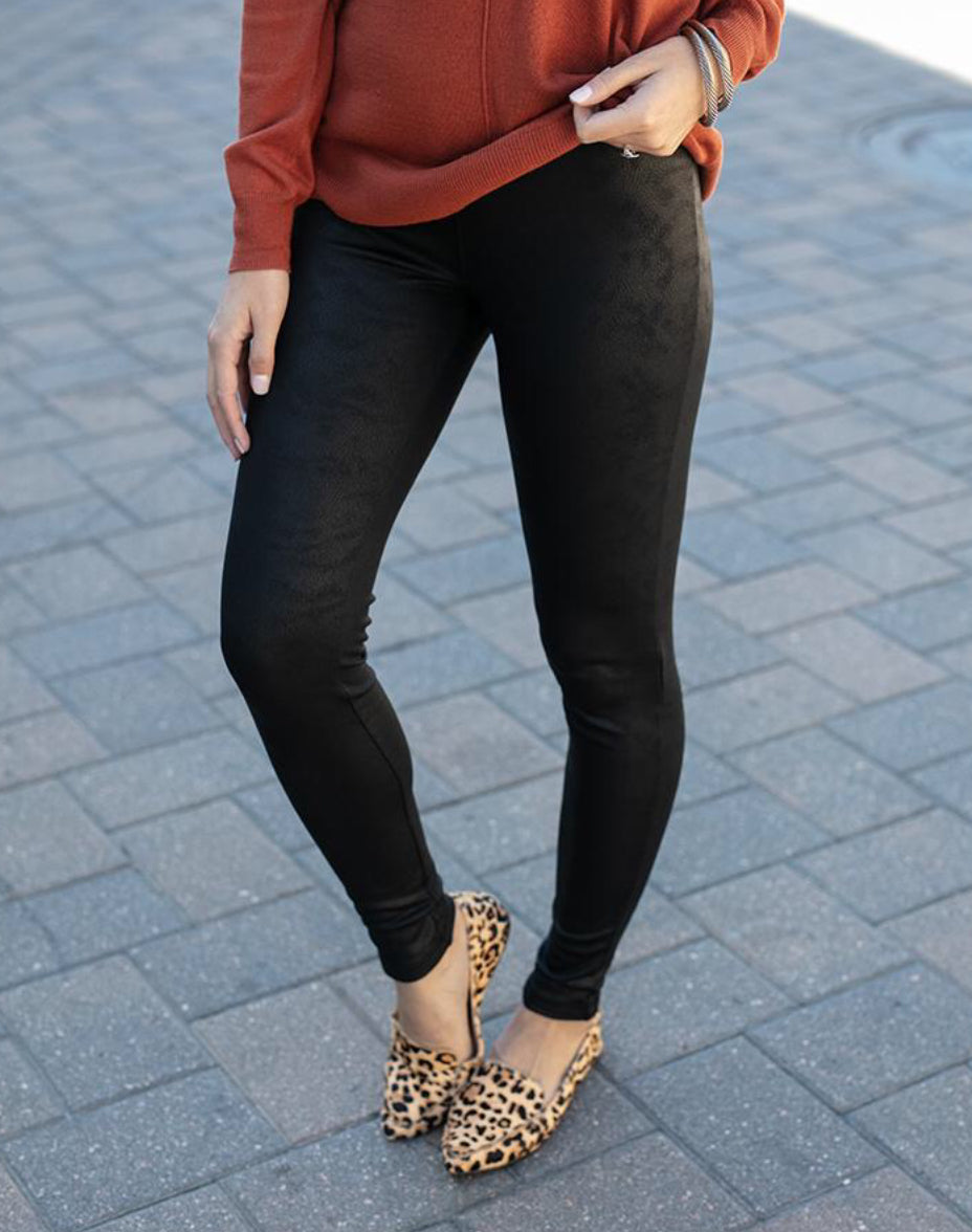 Fleece Lined Faux Leather Look Leggings