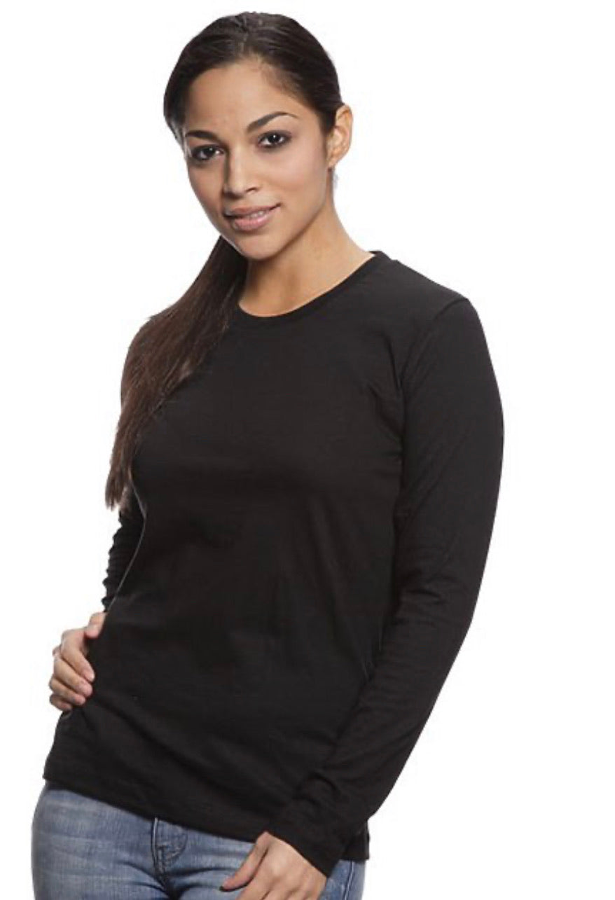 Women's Organic Black Long Sleeve T