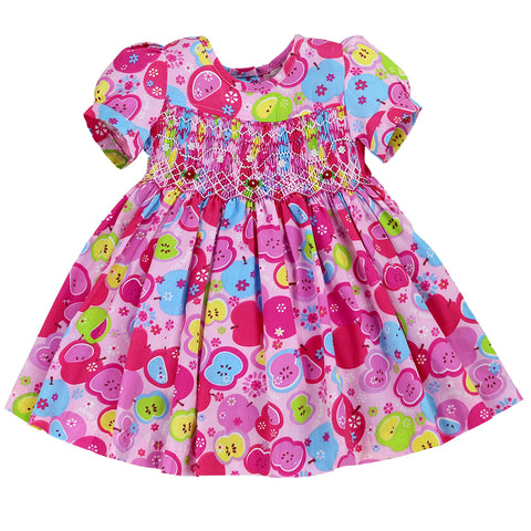 APPLE PIE SMOCKING DRESS- PINK