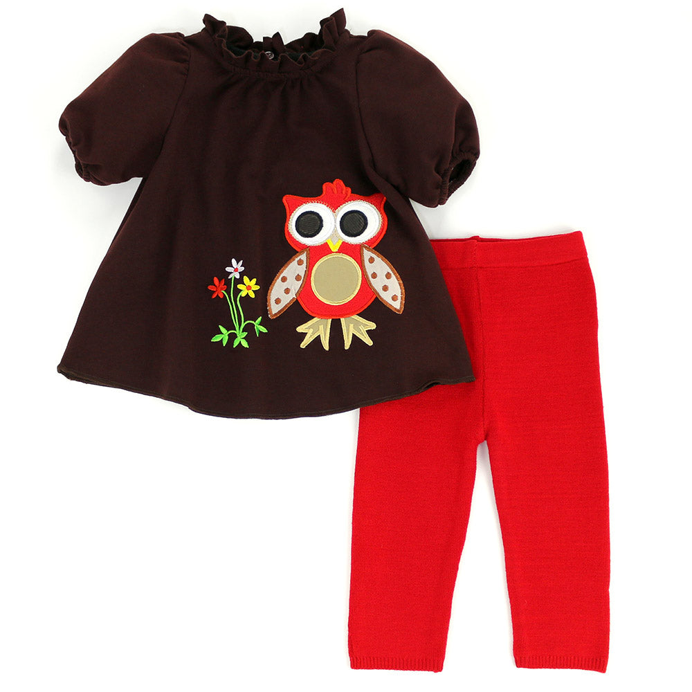 LILLY RUFFLE COLLAR OWL SET- BROWN