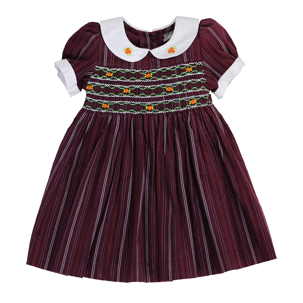 BLAIR SAXTON'S DISTRESSES STRIPES HAND SMOCKED DRESS- Burgundy