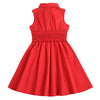 FIONA GABRIELLE COLLAR DRESS- RICH RED