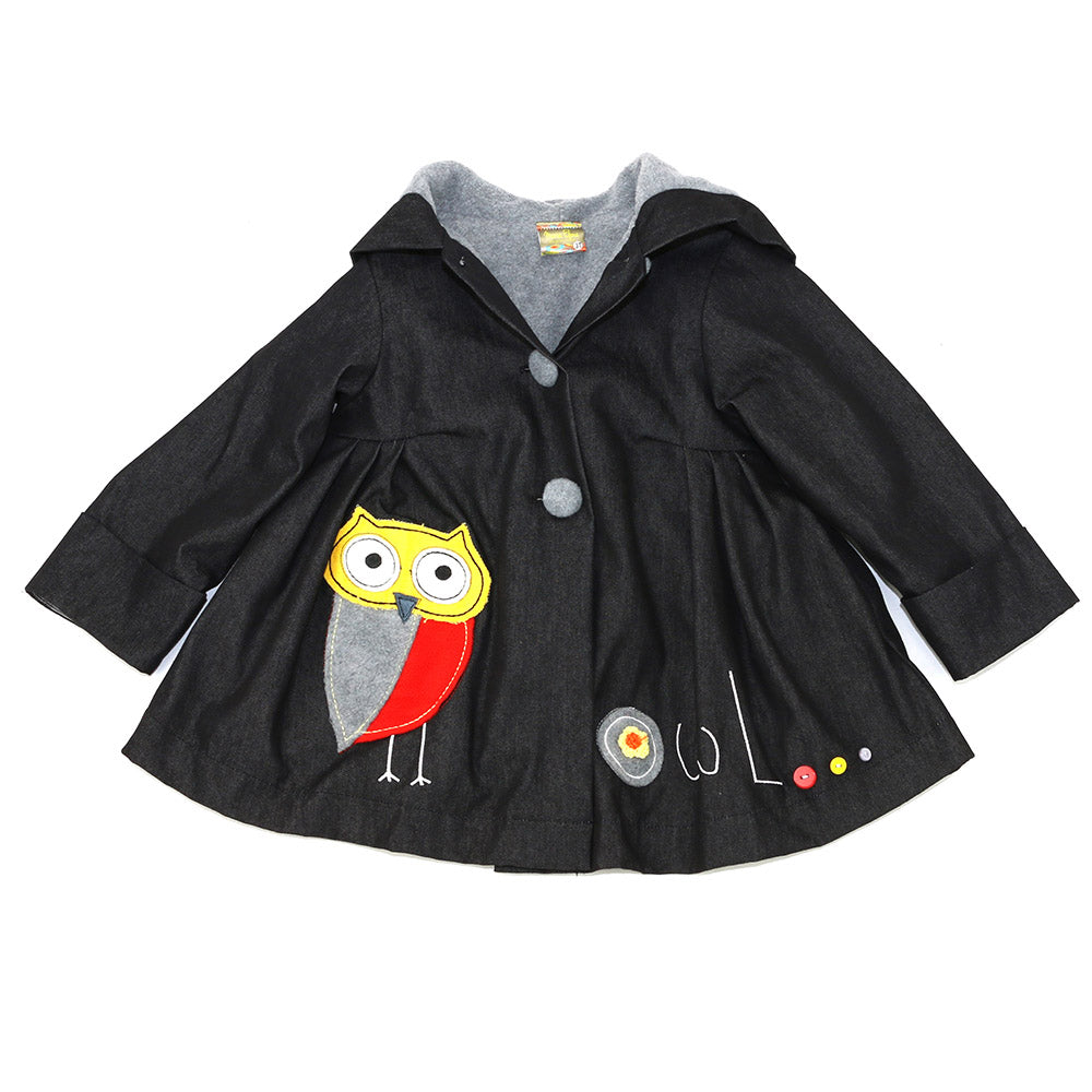 JAMIE'S OWL PATCHWORK JACKET- DENIM OVER GRAY