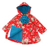 PARADISE FLORAL HOODED JACKET- RICH RED