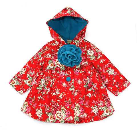 PARADISE HOODED JACKET- RICH RED FLORAL