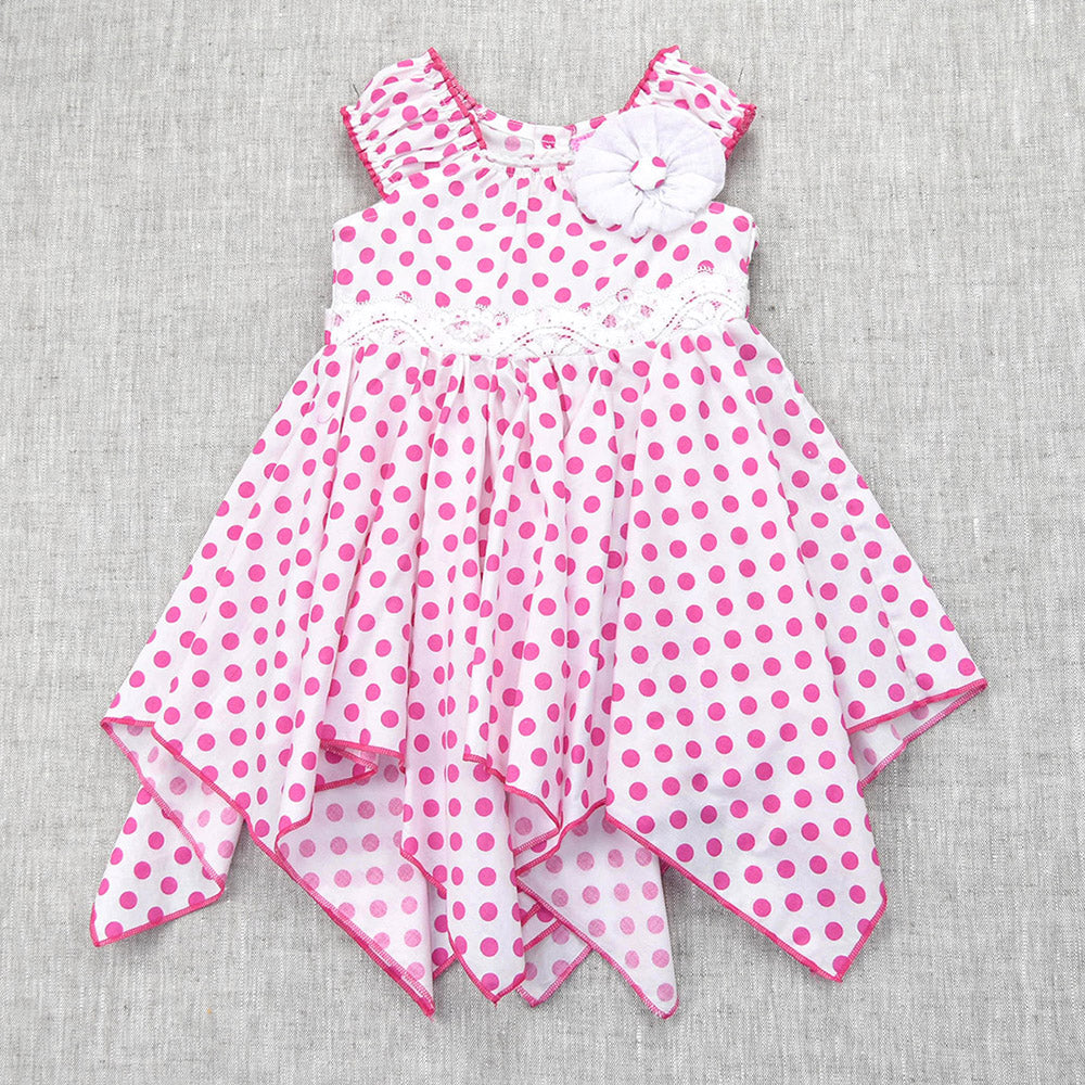 LOUISA HANDKERCHIEF DRESS- WHITE & PINK