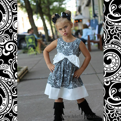 BOW-TERFLY DRESS- BLACK & WHITE PAISLEY