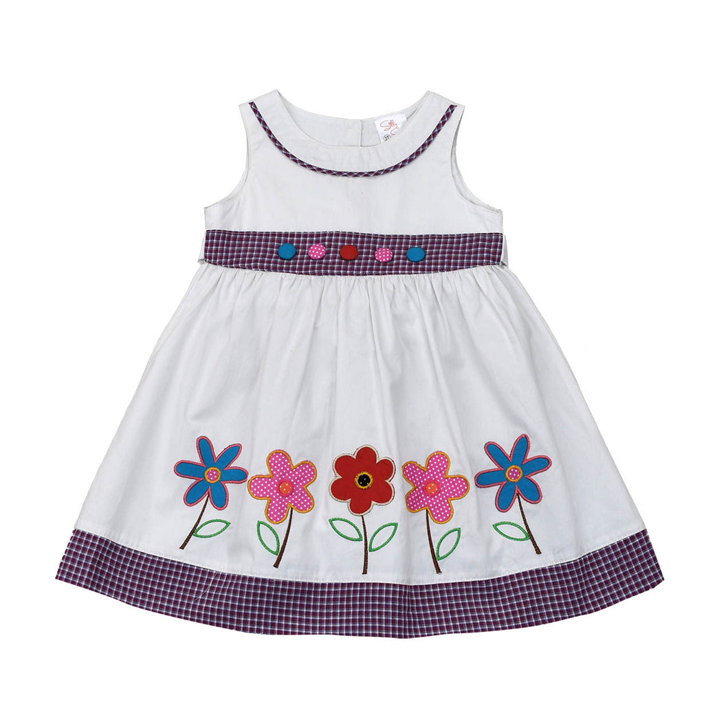 HAND PAINTED FLOWER DRESS- WHITE