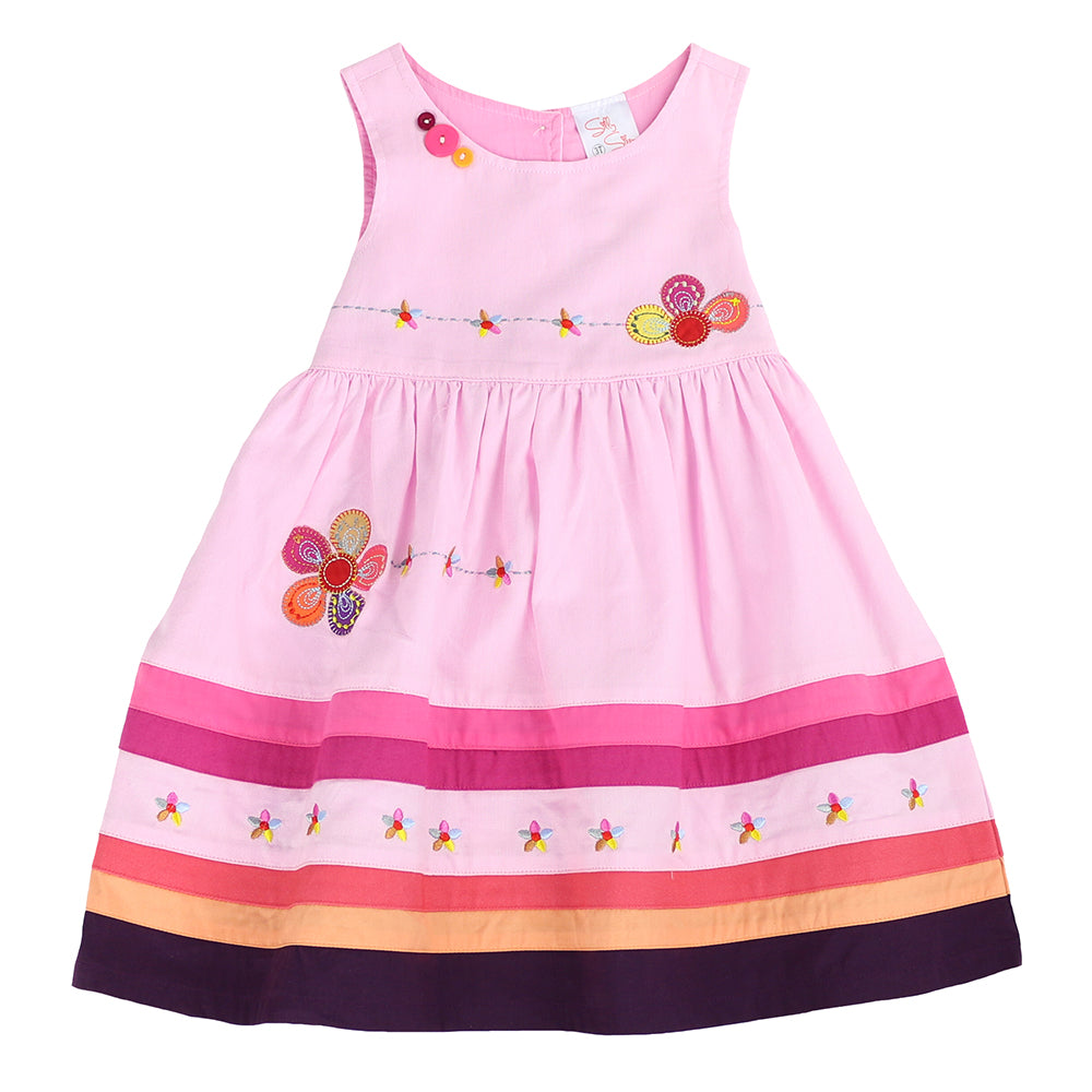 YOUNG PRINCESS APPLIQUE DRESS- Pink