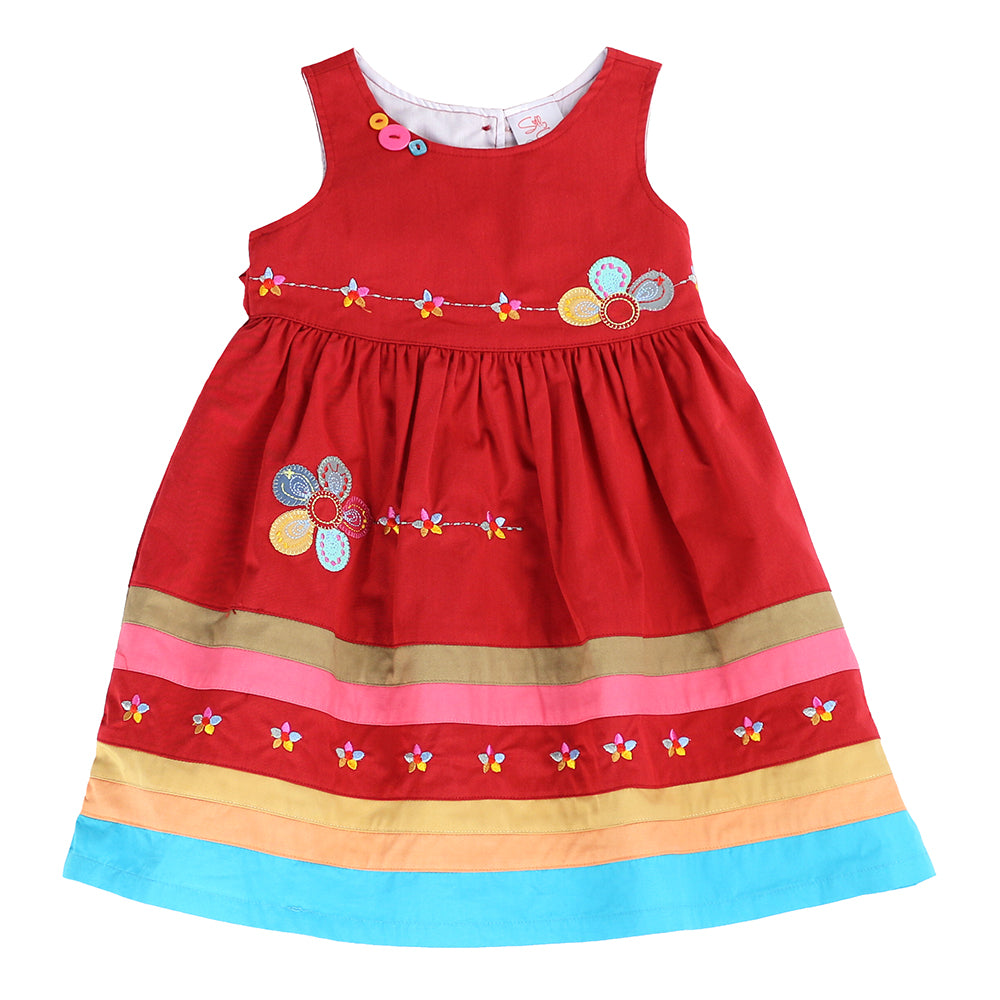 YOUNG PRINCESS APPLIQUE DRESS-Red