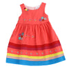 YOUNG PRINCESS APPLIQUE DRESS-Fire Coral