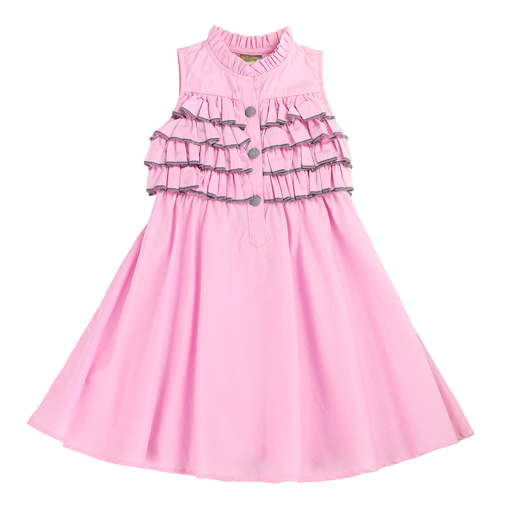 STACEY'S SWEET RUFFLES A-LINE DRESS- PINK