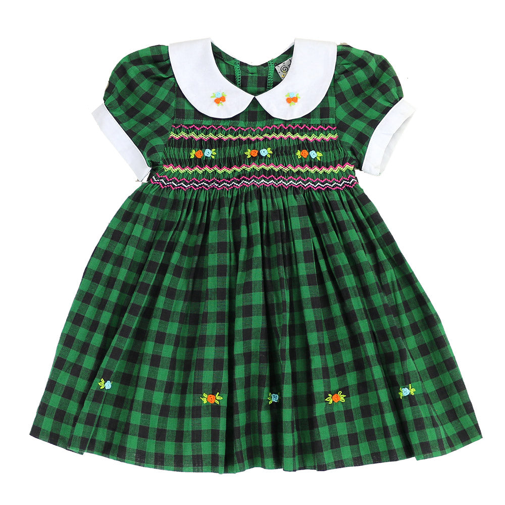 PINELOPI MINI SMOCKING DRESS - FOREST GREEN PLAID
