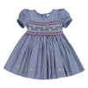 CELESTE CARTER'S PLAID FLOWER FIELD HAND SMOCKED DRESS- Navy